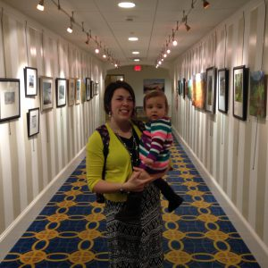 Katherine Horst (with daughter) at a recent solo show